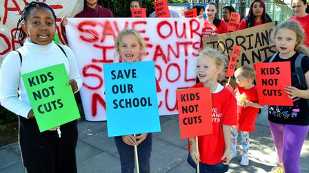 Pupils, parents, ex-pupils and local residents protest about the proposed merger of Torriano Infants