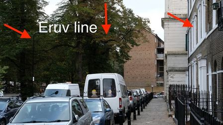 The eruv line which was erected in Clapton Terrace. Picture: Adrian Holliday