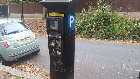 The parking meter in Well Walk, Hampstead, where Mrs Sharron was scammed. Picture: Harry Taylor