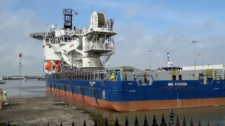 The Ievoli Ivory leaves Lowestoft harbour. Picture: John Welch
