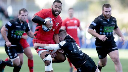 Glasgow Warriors' Matt Fagerson (right) vies with Saracens' Billy Vunipola during the European Champ
