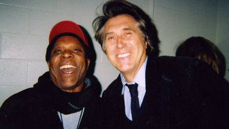 Jah Bunny with singer Bryan Ferry when his band Number One Ska Station toured with Roxy Music in 201