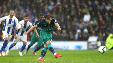 Tottenham Hotspur's Harry Kane scores his side's first goal of the game from the penalty spot at Bri