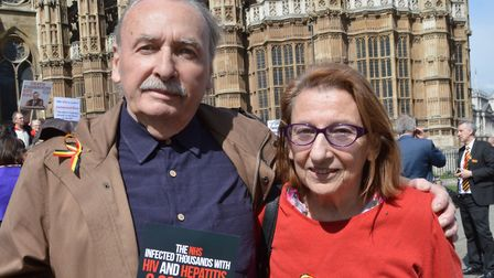 Contaminated blood demonstration at Westminster 12.04.16. Pictured Dan and Della Hirsch