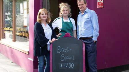 Alastair Campbell, Grace Campbell (middle) and Ravel's Bistro owner Katarina Szajna. Picture: Stan K
