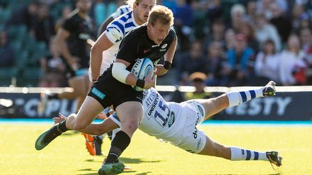 Nick Tompkins scores Saracens fourth try against Bath (pic: Paul Harding/PA)