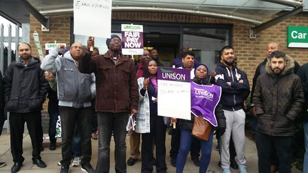 Striking parking wardens outside of Regis Road vehicle pound in Kentish Town. Picture: Sam Volpe