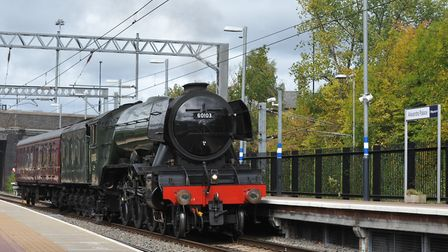 The Flying Scotsman chugged through Alexandra Palace station just after midday today, on its way to