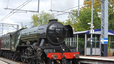 Britain's most famous steam engine the Flying Scotsman passes through Alexandra Palace earlier today