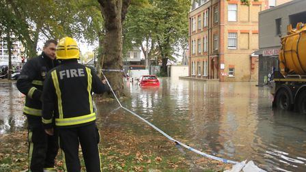 A rescue from the floods in Clapton on Wednesday morning. Picture: Paul Wood