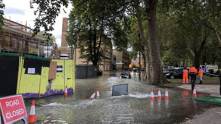 Waterworks Lane is flooded five foot deep after a water main burst. Picture: Emma Bartholomew
