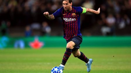 Barcelona's Lionel Messi during the Champions League Group B match at Wembley Stadium against Totten