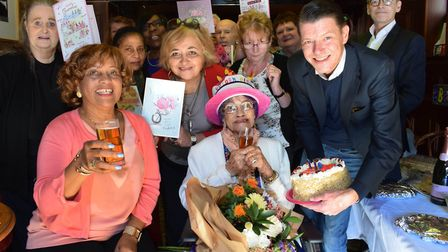 Irene Sinclair celebrates her 110th Birthday in the Auld Shillelagh, Stoke Newington Church Street w