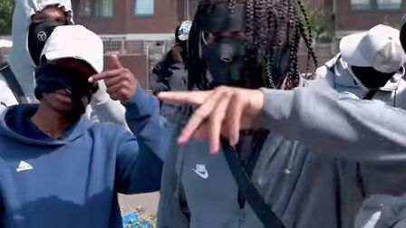 A still from Diablo's video 16 To The Death, filmed with the Stokey gang, The drill video has lyrics