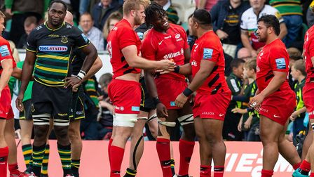 Saracens' Maro Itoje and Saracens' George Kruis celebrate after the Gallagher Premiership match at F