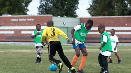 A Pedro Youth Football Club training session in front of the new North Marshes pavilion. Picture: Ga