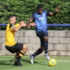 Wingate & Finchley full-back Ola Williams in action against Merstham (pic: Martin Addison).