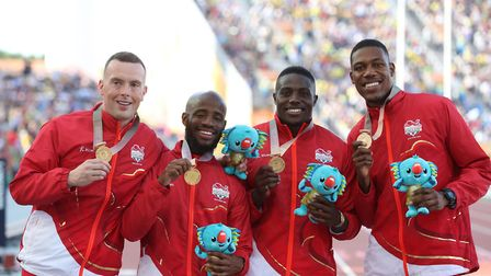 Reuben Arthur (second left) won relay gold at the 2018 Commonwealth Games (pic: Martin Rickett/PA)