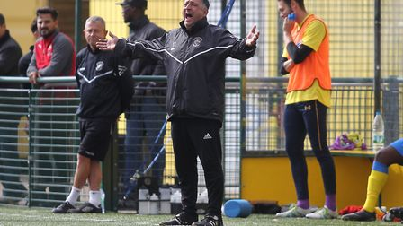 Haringey Borough boss Tom Loizou shows his frustration on the touchline (pic: George Phillipou/TGS P