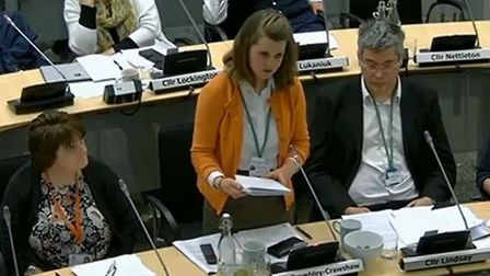 Elfrede Brambley-Crawshaw at Suffolk County Council full council meeting. Picture: Suffolk County Co