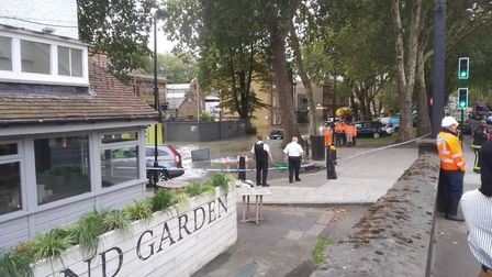 Flooding by the Princess of Wales pub in Lea Bridge Road. Picture: Christian Campbell