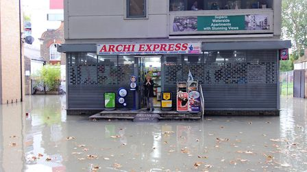 The stranded staff member at Archi Express before being rescued. Picture: Kriss Lee