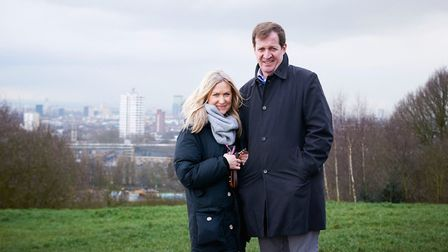 Alastair Campbell and his Fiona Millar on Parliament Hill, Hampstead Heath