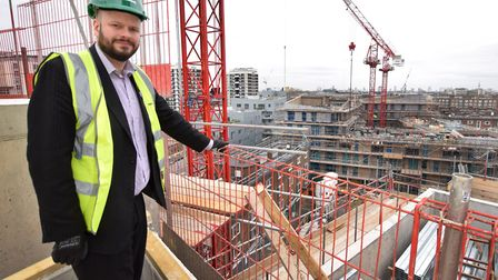 Mayor of Hackney Phil Glanville on the roof of one of the social housing blocks at the new developme