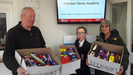 Pupils at Ormiston Denes Academy donated chocolate eggs to the Lowestoft food bank. Picture: Julie M