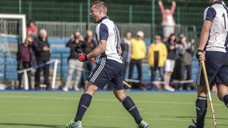 Mattt Guise-Brown celebrates his goal for Hampstead & Westminster (pic Mark Clews)