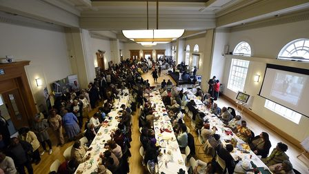 Guests were treated to lunch at a Windrush Tea Party at Hackney Town Hall. Picture: Adam Holt/ Hackn