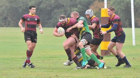 Action from UCS Old Boys' defeat to Finsbury Park in Herts/Middlesex One (pic: Nick Cook)