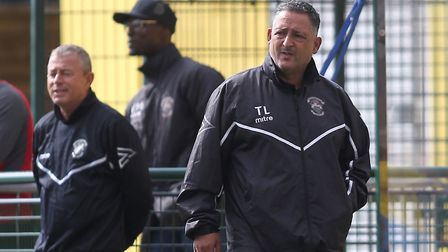 Tom Loizou shows his concern on the touchline at Haringey Borough (pic: George Phillipou/TGS Photo).