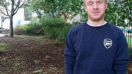 Luke Billingham from Hackney Quest at the site which will be transformed by young people from the ch
