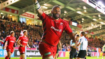 Saracens' Billy Vunipola celebrates scoring his try against Harlequins (pic: Mark Kerton/PA)