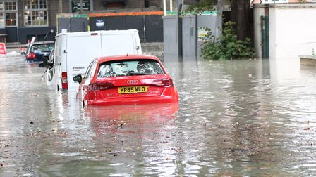 A submerged car in Clapton on Wednesday morning. Picture: Paul Wood