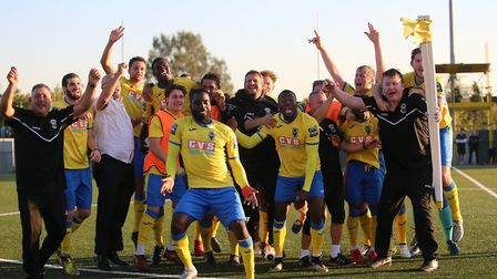 Haringey Borough celebrate at the final whistle after beating Poole Town 2-1 to reach the FA Cup fir