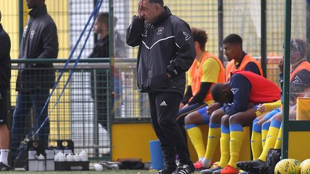 Haringey Borough manager Tom Loizou looks worried on the touchline (pic: George Phillipou/TGS Photo)