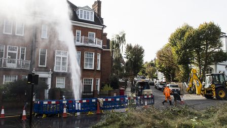 A burst water main gave Hampstead locals a watering. Picture: Sally Platt