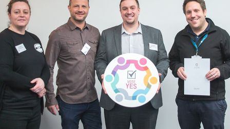 Kelly Scoot, Justin Taylor, Chris Ames and Rob Johnson at the gathering for Lowestoft Vision's BID r