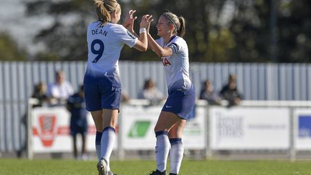 Tottenham Hotspur Ladies forward Rianna Dean (left) celebrates with team-mate Jenna Schillaci after