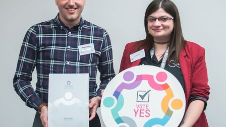 Matthew Smith and Emma Lumley of Hoseasons at the gathering for Lowestoft Vision's BID renewal launc