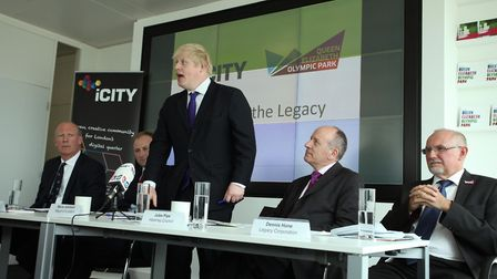 Former Mayor of London Boris Johnson speaks in a press conference in 2012 to announce iCity won the