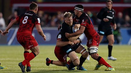 Saracens' Jackson Wray is tackled by Lyon (pic: Steven Paston/PA)