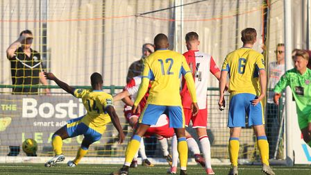 Jorge Djassi-Sambu (14) scores the equalising goal for Haringey Borough during their FA Cup fourth q