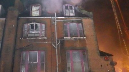 A fire at a derelict hotel in Manor House