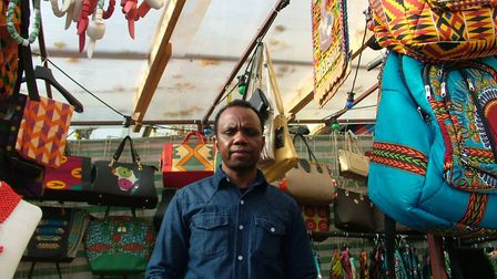 Mohamed Barry at his stall in Ridley Road Shopping Village. Picture: Ramzy Alwakeel