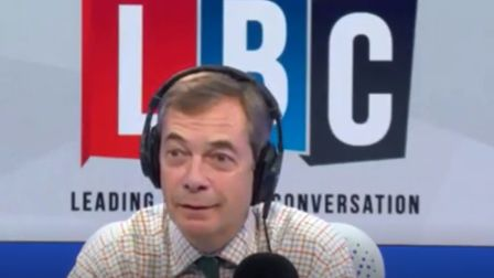 Nigel Farage appears on LBC Radio. Photograph: LBC Radio.