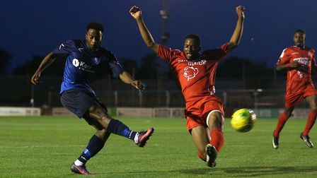 Wingate & Finchley attacker Reece Beckles-Richards has a shot on goal (pic: Gavin Ellis/TGS Photo).