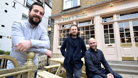 New landlords of the Duke of Hamilton on New End, front Ben Robson with brother Ed Robson and Adam G